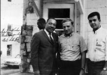 Civil rights activists Moshe Shur and Peter Geffen (center and right) with Dr. Martin Luther King, Jr. in Atlanta, Georgia.